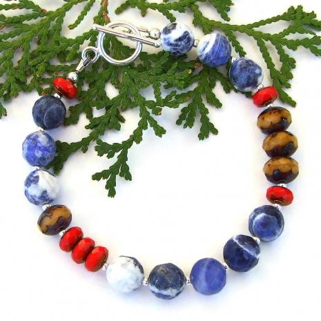handmade blue sodalite gemstone czech glass bracelet