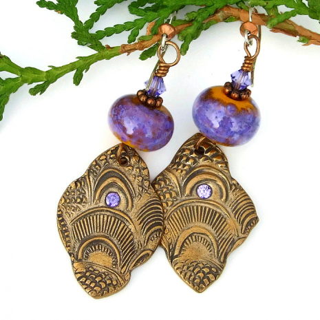 boho exotic bronze Casablanca earrings gift idea for her
