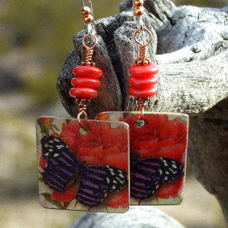 fashion earrings for women with butterflies and roses
