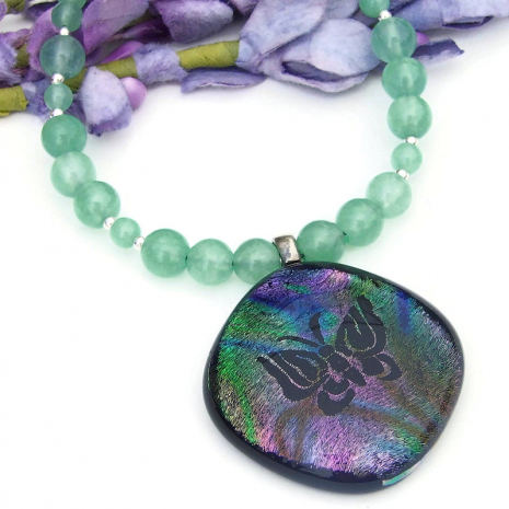 handmade butterfly and green aventurine necklace for women