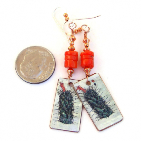 handmade cactus on copper earrings gift for her