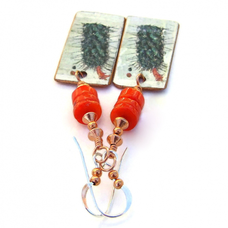 handmade cactus on copper jewelry gift for her