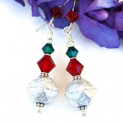 handmade christmas earrings with swarovski crystals