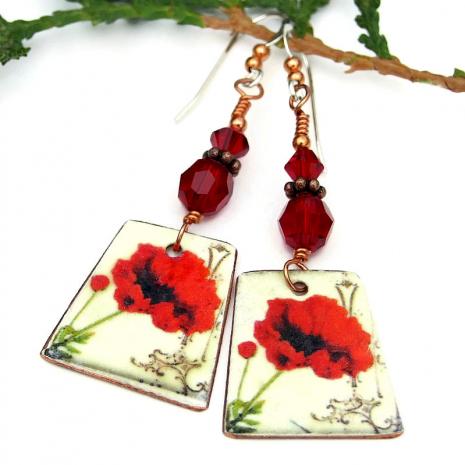 handmade christmas poppy earrings gift for women