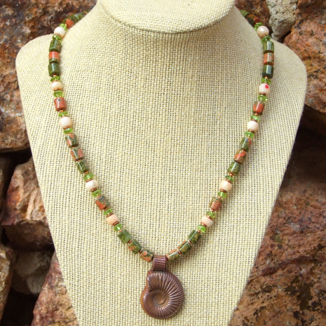 handmade copper ammonite jewelry with unakite peridot and coral