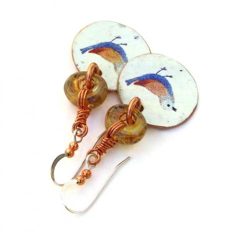 handmade copper bird jewelry vintage look