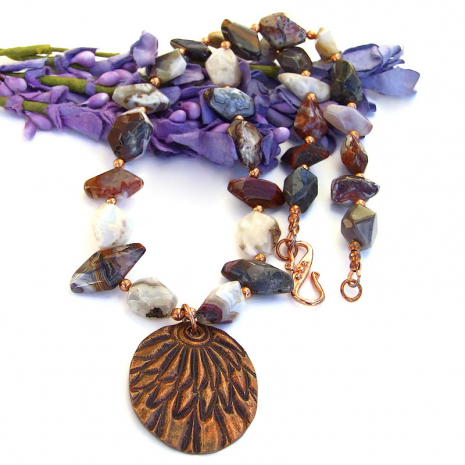 handmade copper feather pendant jewelry with mixed agate nugget gemstones