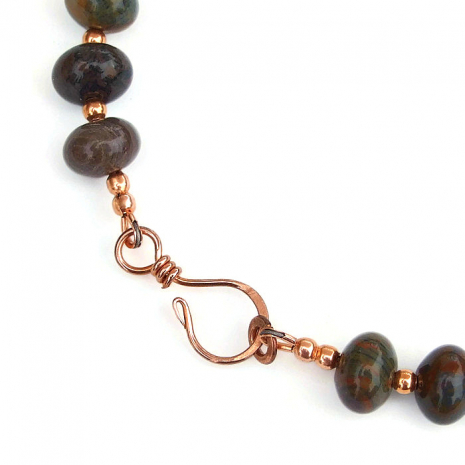 handmade copper hook clasp set