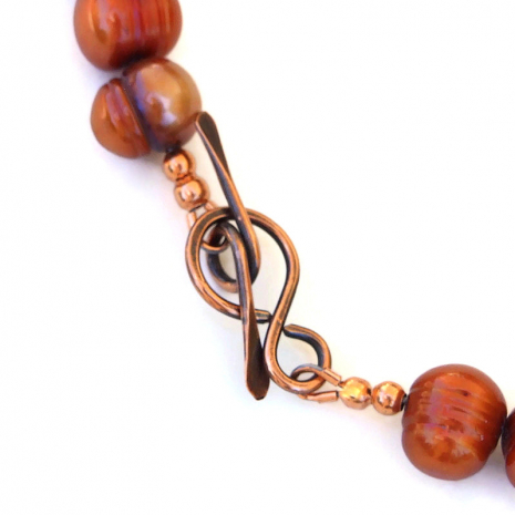 handmade copper toggle clasp set
