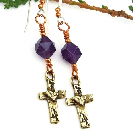 handmade cross earrings with amethyst