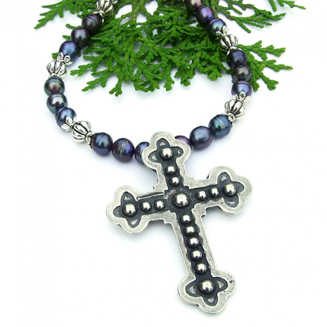 budded cross necklace for women gift idea