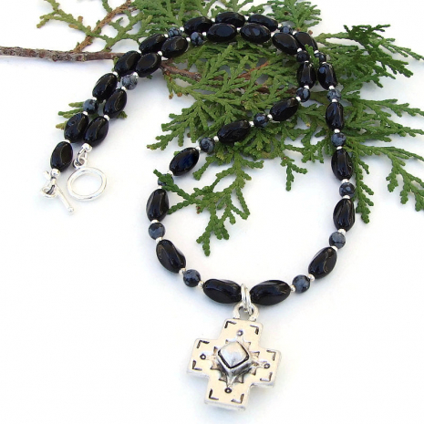 handmade cross necklace with gemstones