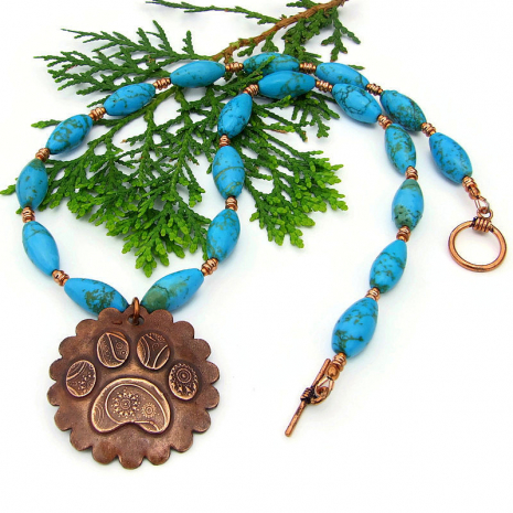 handmade dog lover necklace copper turquoise magnesite