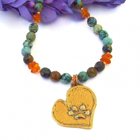 handmade dog paw print heart necklace dog lover