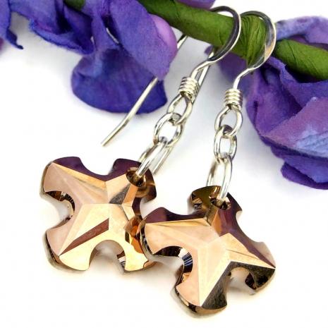 handmade earrings copper rose Swarovski crystal greek crosses
