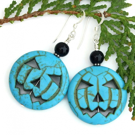 Turquoise jack o lantern pumpkin earrings