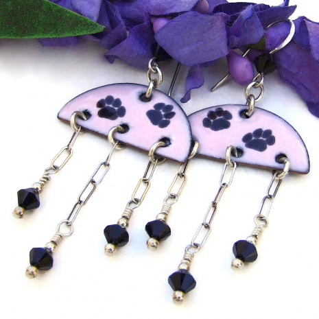 handmade earrings paw print half circle pink black enamel