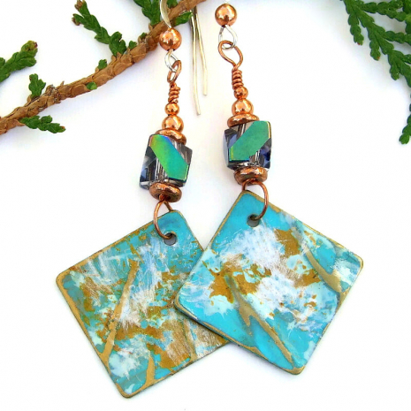 handmade earrings rustic aqua gold white brass dangles