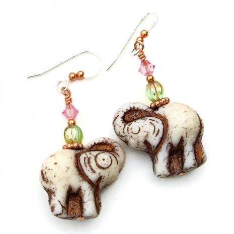 handmade elephants earrings gift for her