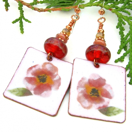 handmade enamel jewelry pink flowers lampwork