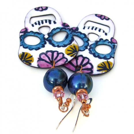handmade enameled sugar skull jewelry with pearls and crystals