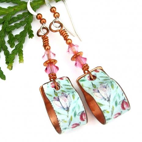 handmade flower floral copper hoop earrings with crystals