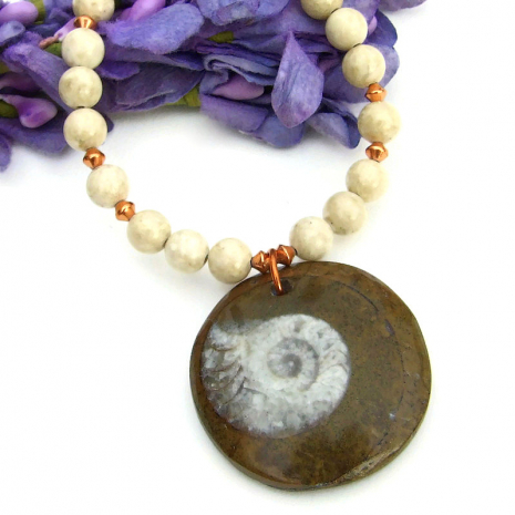 handmade fossil ammonite necklace