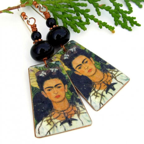 handmade frida kahlo earrings black lampwork onyx
