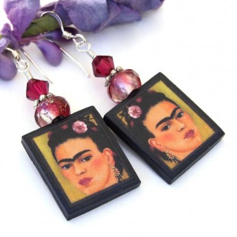 handmade frida kahlo jewelrys from polymer clay