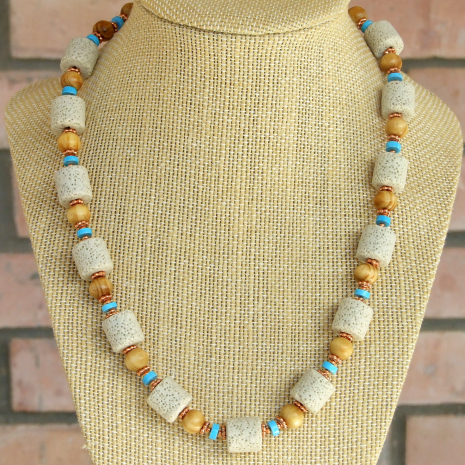 handmade gemstone and wood necklace gift for women