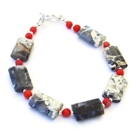handmade gemstone bracelet silver leaf jasper and red coral