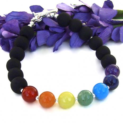 handmade gemstone chakra bracelet yoga meditation jewelry