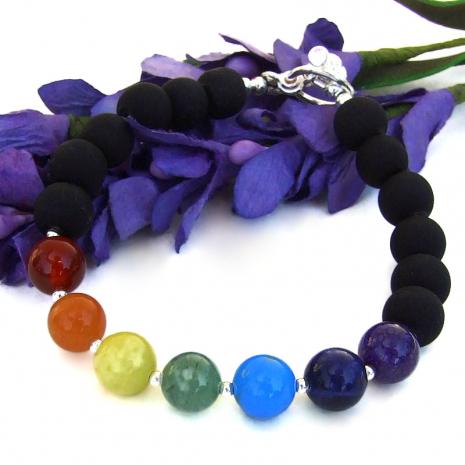 handmade gemstone chakra jewelry yoga meditation bracelet