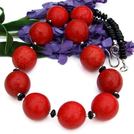 handmade gemstone jewelry red magnesite black onyx