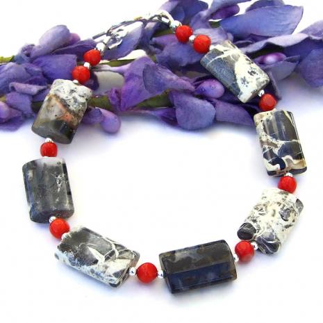 handmade gemstone jewelry silver leaf jasper  and red coral