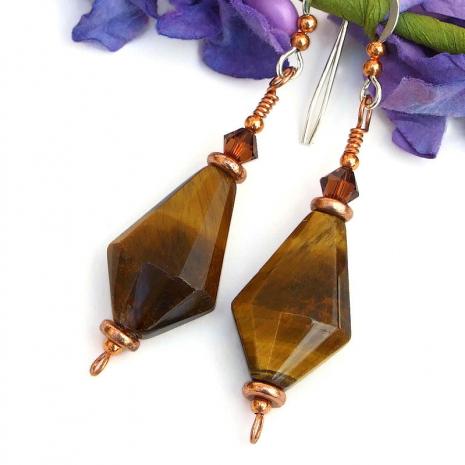 handmade gemstone jewelry tigers eye swarovski crystals