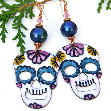 handmade halloween day of the dead sugar skulls earrings