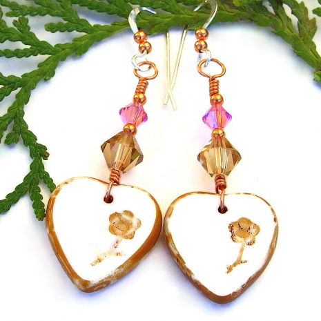 handmade hearts and flowers earrings with Swarovski crystals