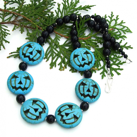 jack o lantern handmade halloween necklace for her