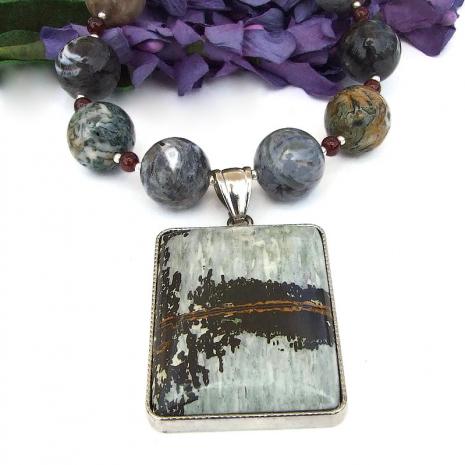 handmade jewelry paintbrush jasper pendant silver crazy lace agate garnet