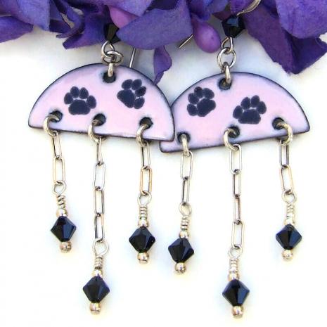 handmade jewelry paw print half circle pink black enamel