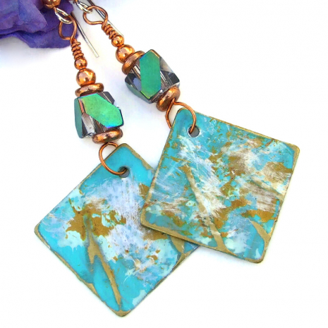 handmade jewelry rustic aqua gold white brass dangles