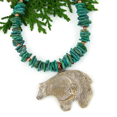 handmade jewelry totem bear moon spirals turquoise