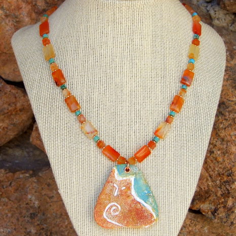 cat pendant necklace with agate and turquoise gift for her