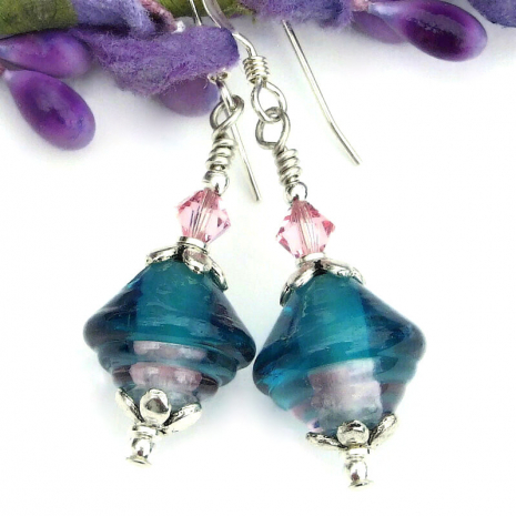 handmade lampwork earrings in teal and pink gift for her