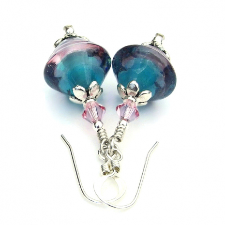 handmade lampwork jewelry in teal and pink gift for her