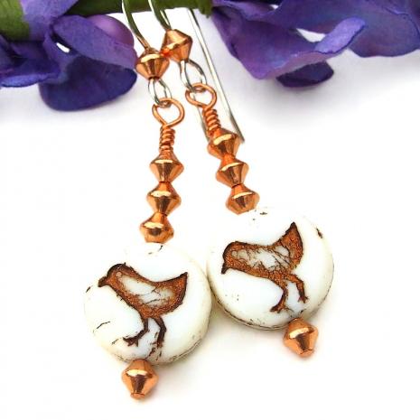 handmade little bird peeps earrings with copper