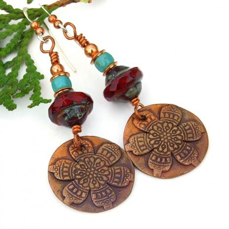 handmade mandala flower earrings gift for women