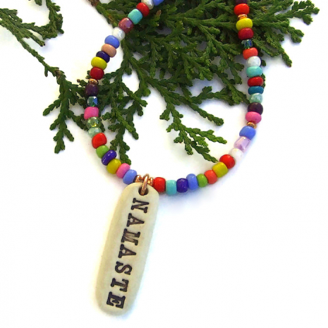 handmade namaste pendant jewelry with multi color african christmas beads