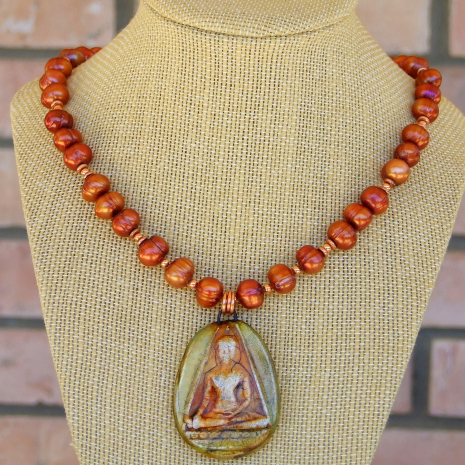 handmade necklace with buddha pendant and copper orange pearls jewelry gift
